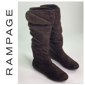 Rampage Slouch Knee High Faux Suede Brown Boots 10